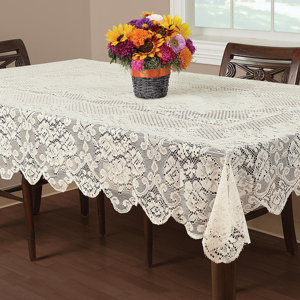 New Square Ivory Lace Floral Buckingham With Scallop Edges