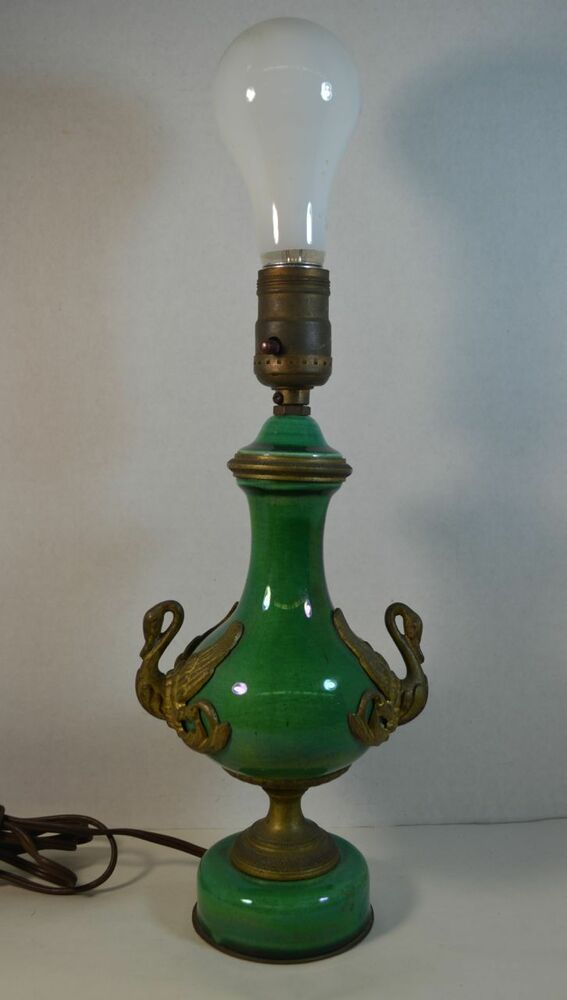 Vintage Green French Ceramic And Bronze Lamp With Swans Ebay