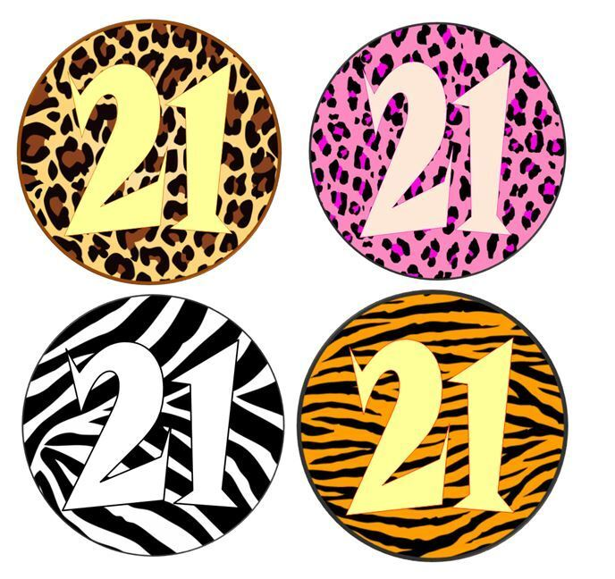 24 birthday animal print and age edible icing cupcake for Animal print edible cake decoration