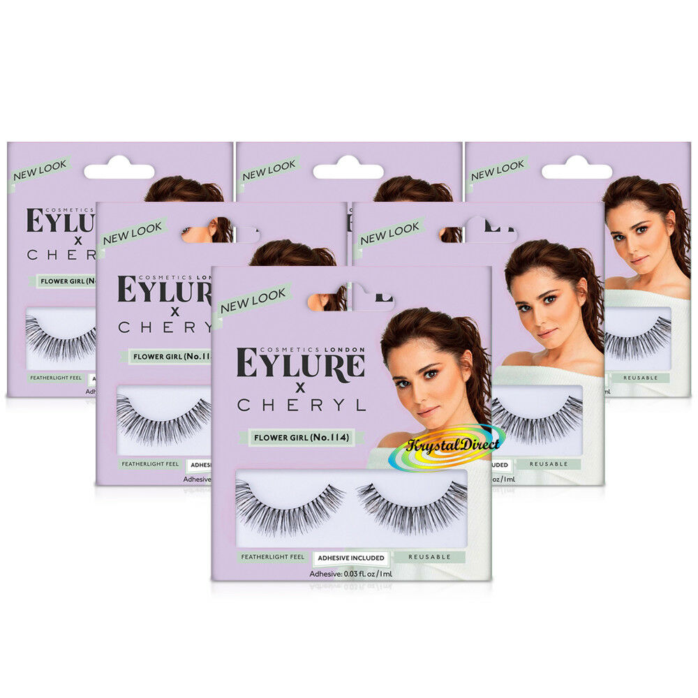 12cf3327cde 6x Eylure Cheryl Lengthening No.114 False Eyelashes Fluffy Angled Finish  696597553496 | eBay