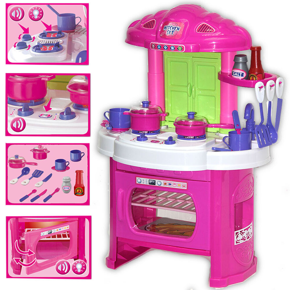 Toy kitchen play set kids role play pretend cooking dining for Funny kitchen set
