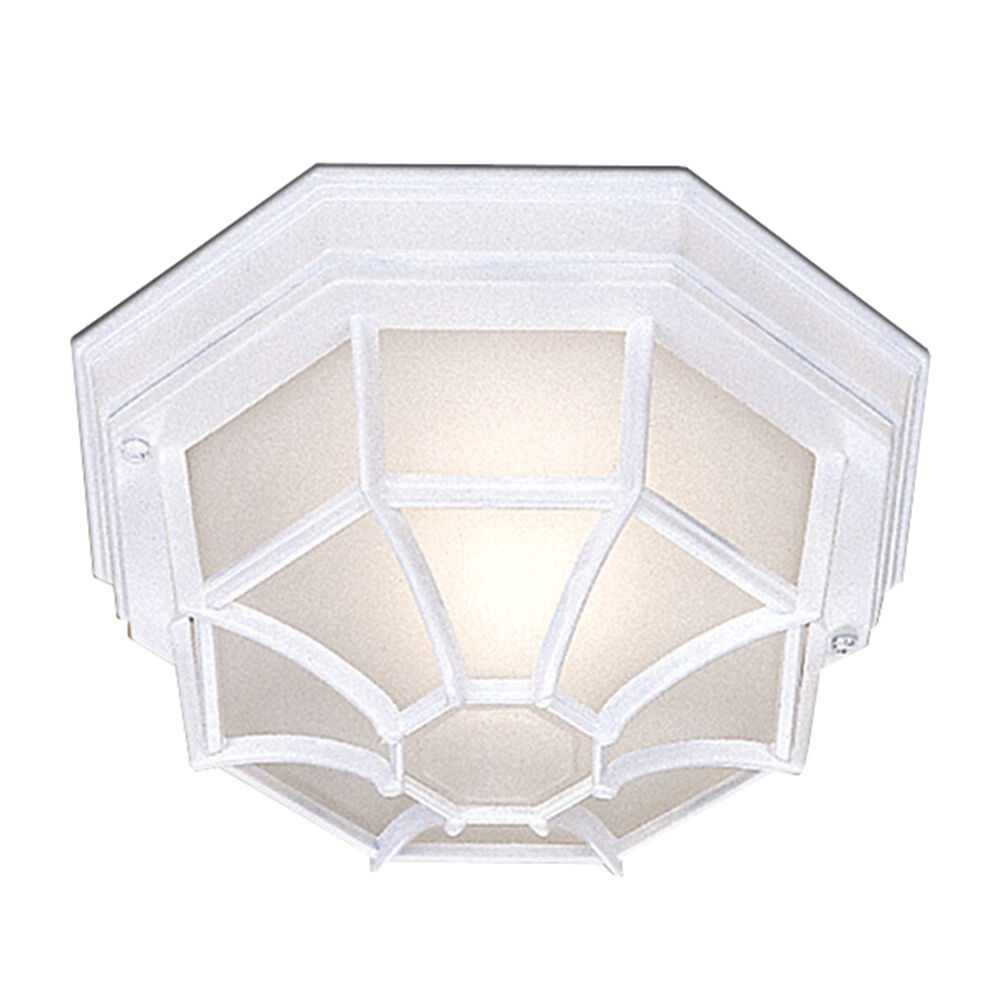 Searchlight 2942wh Aluminium White Hexagonal Outdoor Porch Ceiling Light IP54