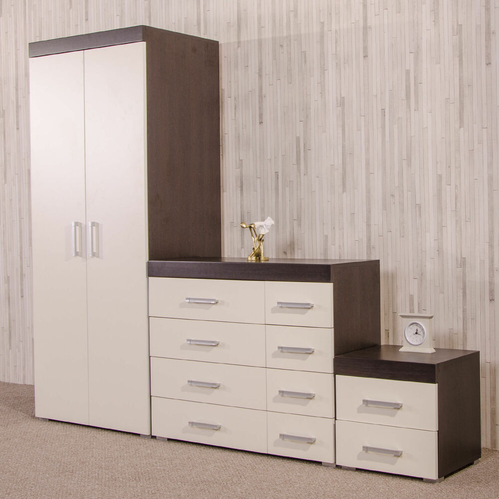 Bedroom Furniture Set White/Dark Brown Wardrobe 4+4 Drawer