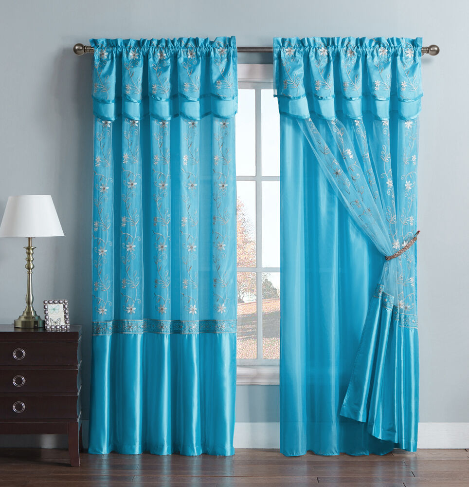 blue one piece window curtain drapery sheer panel attached backing and valance ebay. Black Bedroom Furniture Sets. Home Design Ideas