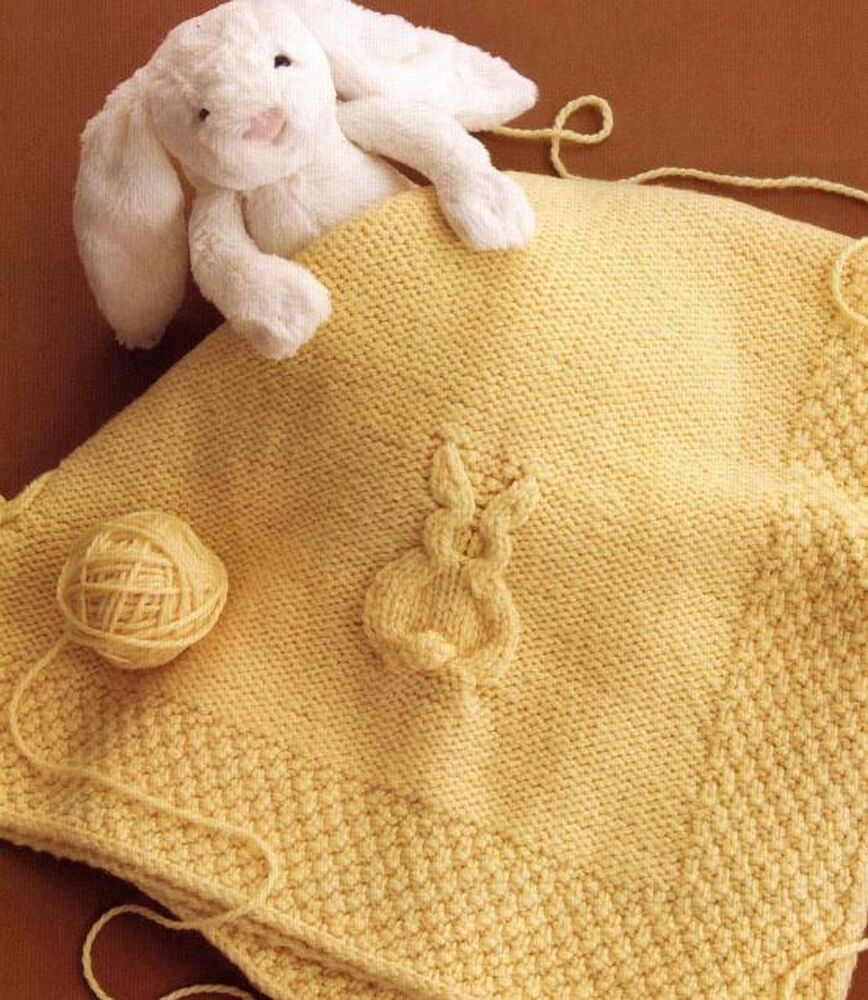 Bunny Blanket Knitting Pattern : Knitting Pattern Babies Blanket Childrens Bunny Rabbit Afghan eBay