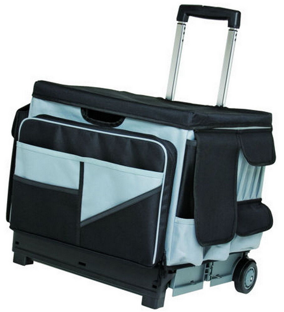 Canvas tote bags on wheels - Rolling Scrapbook Art Supplies Organizer Cart 46 Compartment Canvas Bag Hobby Ebay