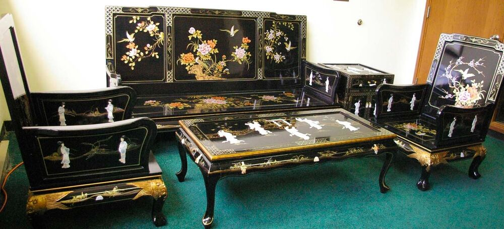 Oriental Living Room Set Furniture Sofa Set Black Lacquer Mother Of Pearl Ebay