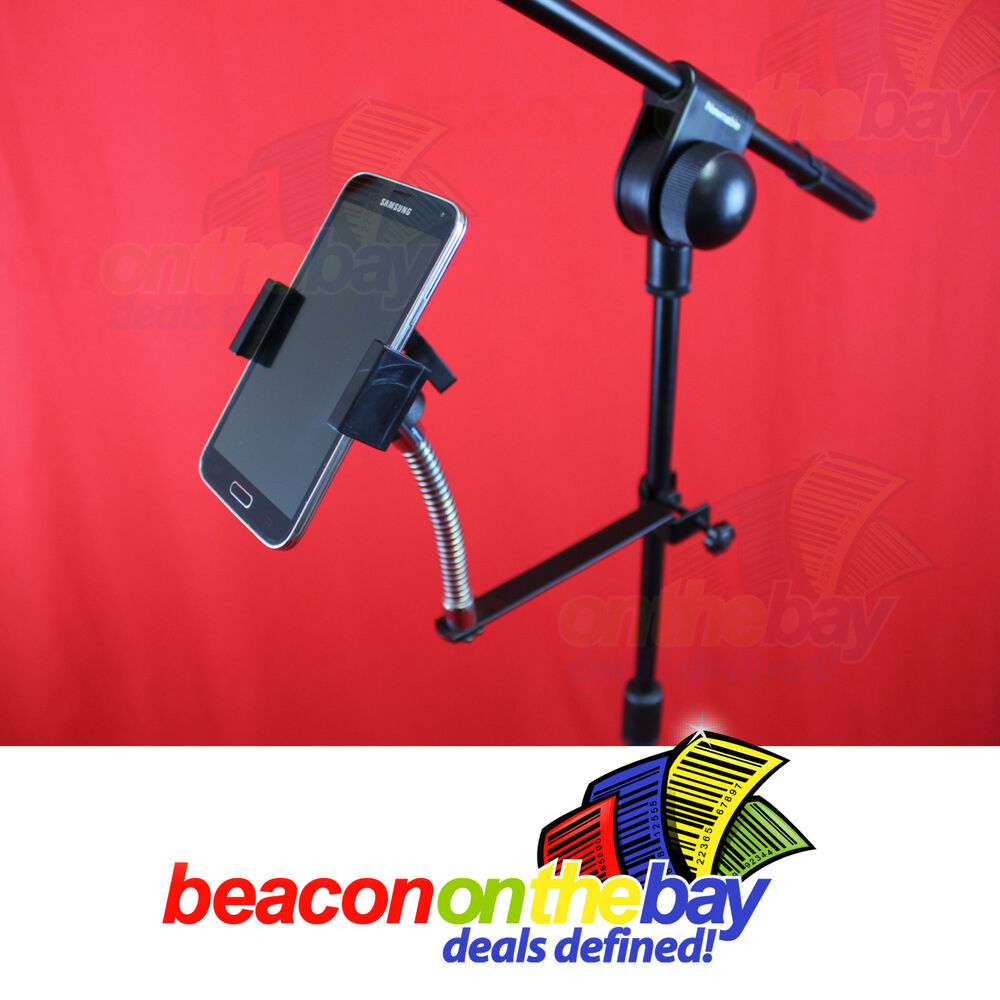 universal microphone mic stand mount holder for smart phone iphone samsung ebay. Black Bedroom Furniture Sets. Home Design Ideas