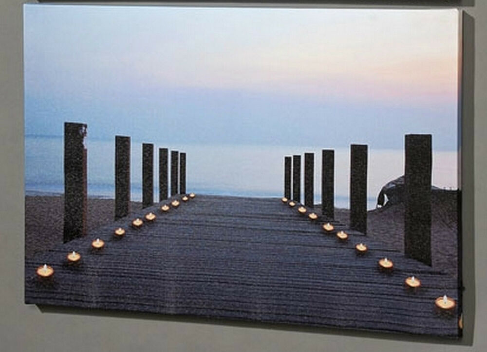 led wandbild strand leinwandbild bilder bild mit licht deko urlaub lichtspiel ebay. Black Bedroom Furniture Sets. Home Design Ideas