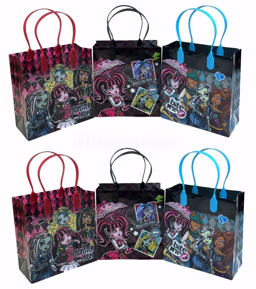 12x monster high party favor goody bags loot bags gift. Black Bedroom Furniture Sets. Home Design Ideas