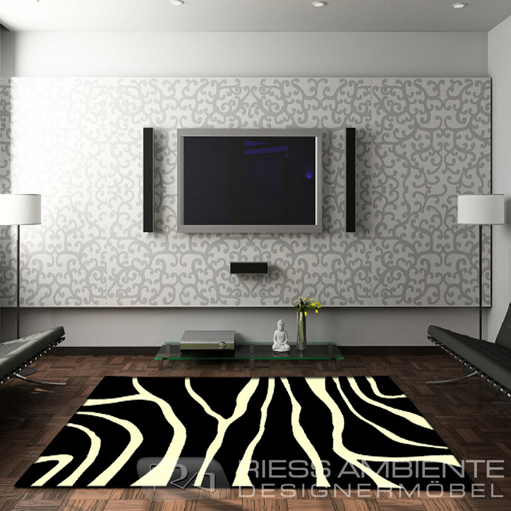 design teppich zebra 160 x 230 schwarz weiss afrika exotisch safari style l ufer ebay. Black Bedroom Furniture Sets. Home Design Ideas