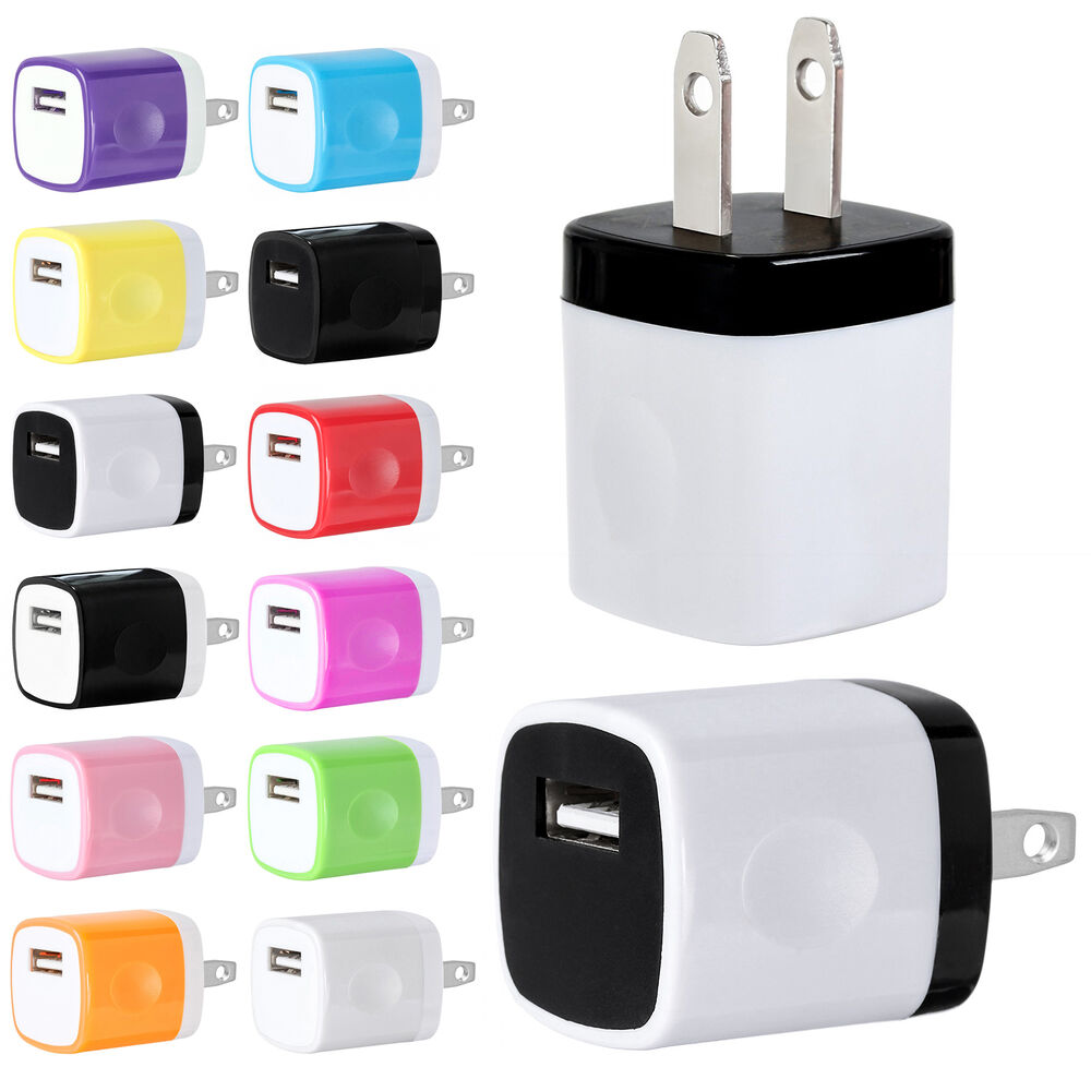 1a usb power adapter ac home wall charger us plug for iphone 5 5s 6 samsung lot ebay. Black Bedroom Furniture Sets. Home Design Ideas