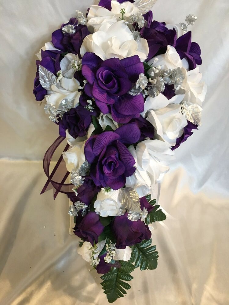 wedding silk flower bridal bouquet cascade package purple white silver 21 pc ebay. Black Bedroom Furniture Sets. Home Design Ideas