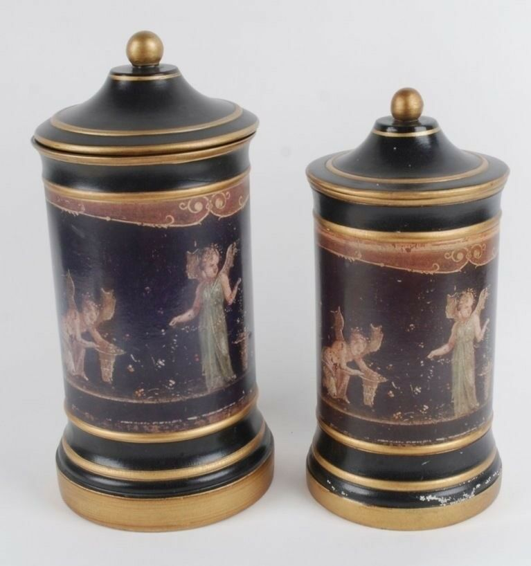 Vintage Pair Of Oversized Italian Ceramic Canisters From Lorin Marsh Ebay