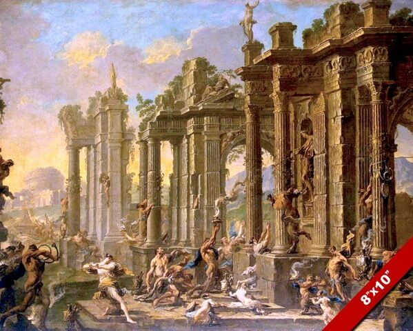 Roman bacchus festival among ruins of ancient rome for Ancient roman mural