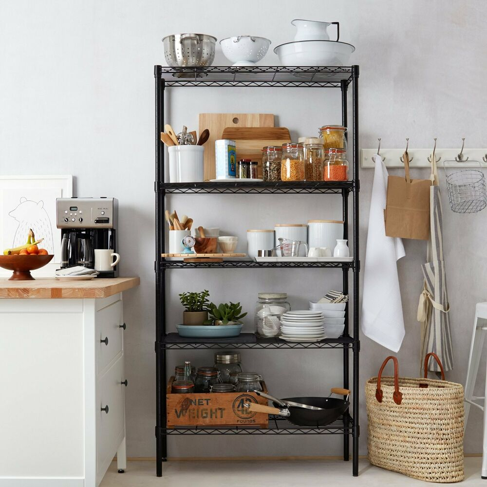 kitchen storage shelf home kitchen garage wire shelving 5 shelf storage rack 3177