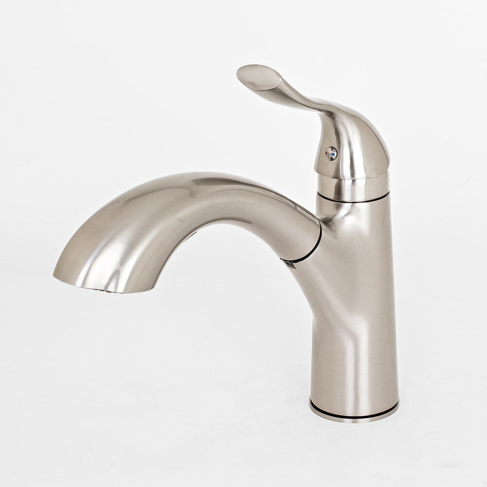 Contemporary Brushed Nickel Kitchen Sink Faucet Pull Out Dual Spray Single Ho