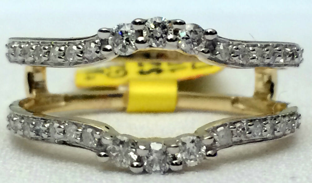 Yellow Gold 038ct Solitaire Enhancer 3 Three Stone Diamond Ring Guard Wrap Band