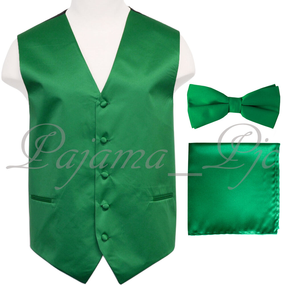 Emerald Green Tuxedo Vest Waistcoat And Straight Cut Bow