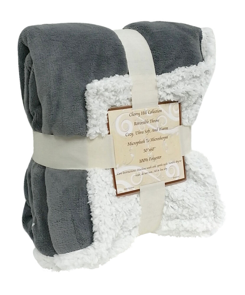 Reversible sherpa microplush throw blanket 50 x 60 grey for Fenetre 50 x 60