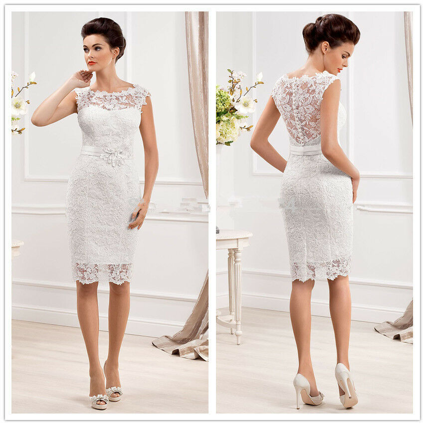 Knee length short lace wedding dresses with appliques for Knee length fitted wedding dresses