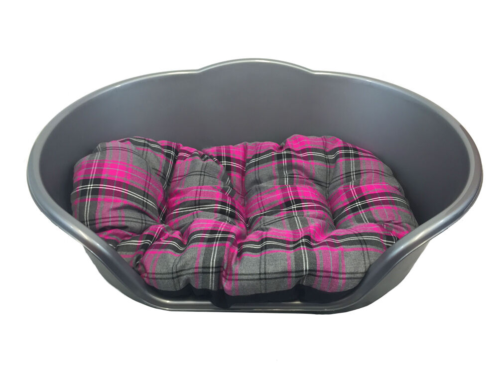 Grey Tartan Dog Bed