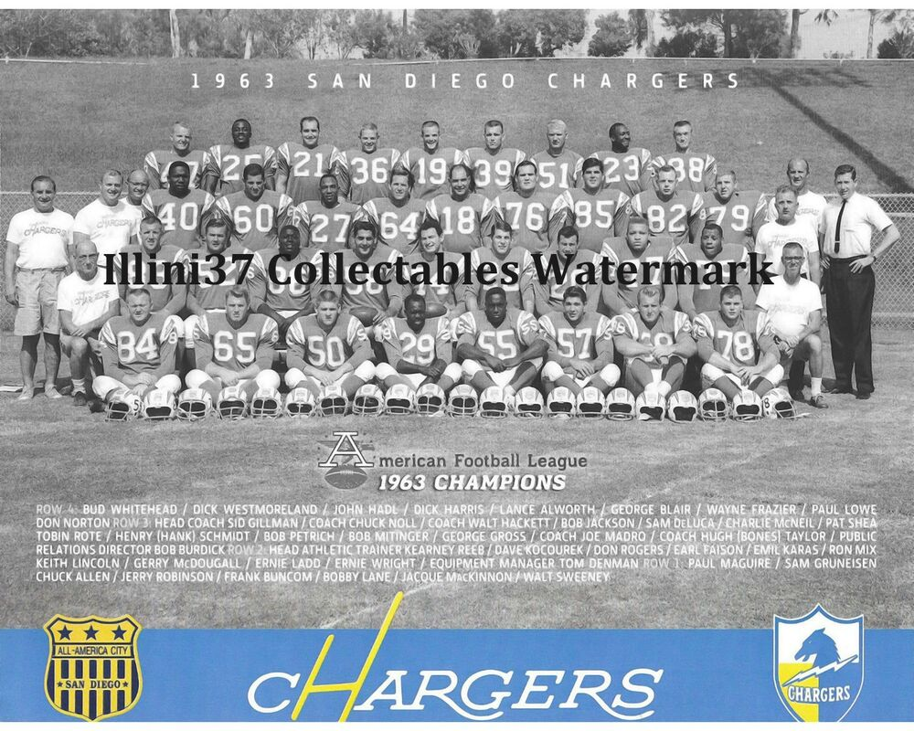 1963 San Diego Chargers Afl Champions Team 8x10 Photo