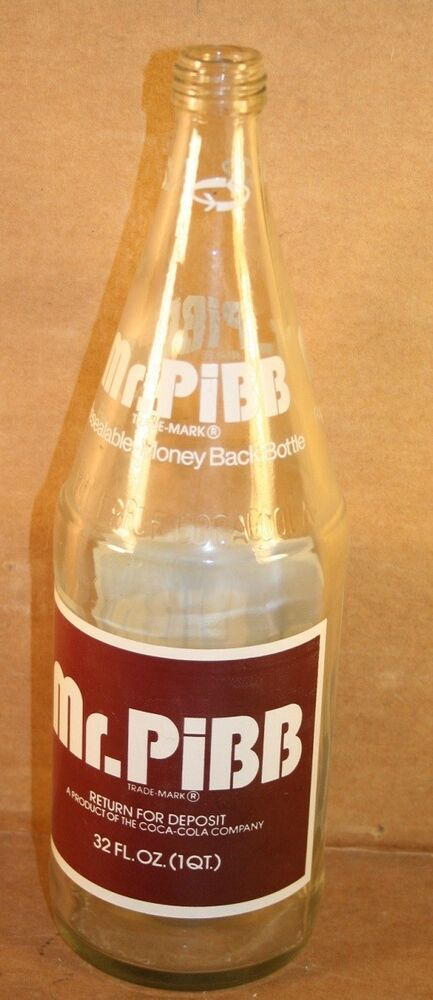 Mr Pibb Glass Bottle 32 Ounce 2 Color Acl 1974 Screw