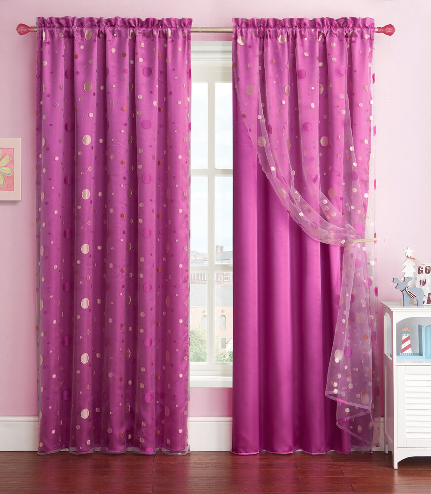 purple window curtain panel with circle design sheer top layer 55in x 90in ebay. Black Bedroom Furniture Sets. Home Design Ideas