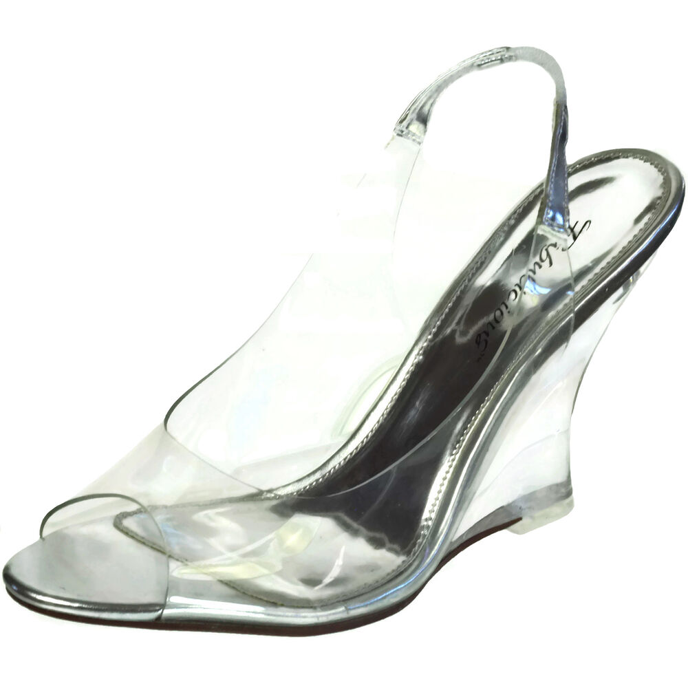 fabulicious clear high heels wedge sling back sandal shoes