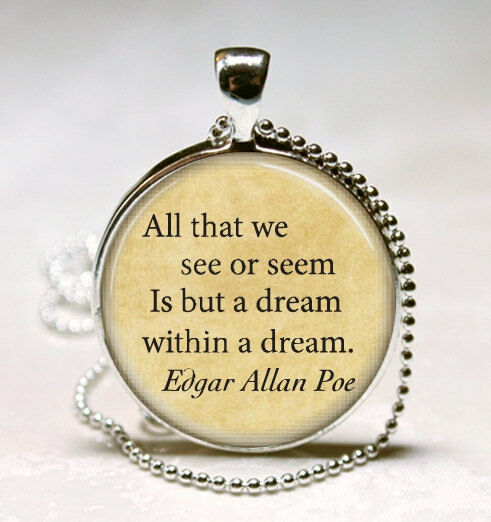 How To Make A Book Quote Pendant : Edgar allan poe book necklace jewelry dream within a
