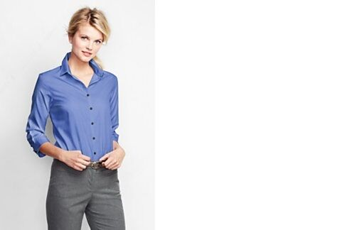 Lands end womens 3 4 sleeve supima ni shirt french blue for French cut shirt sleeve