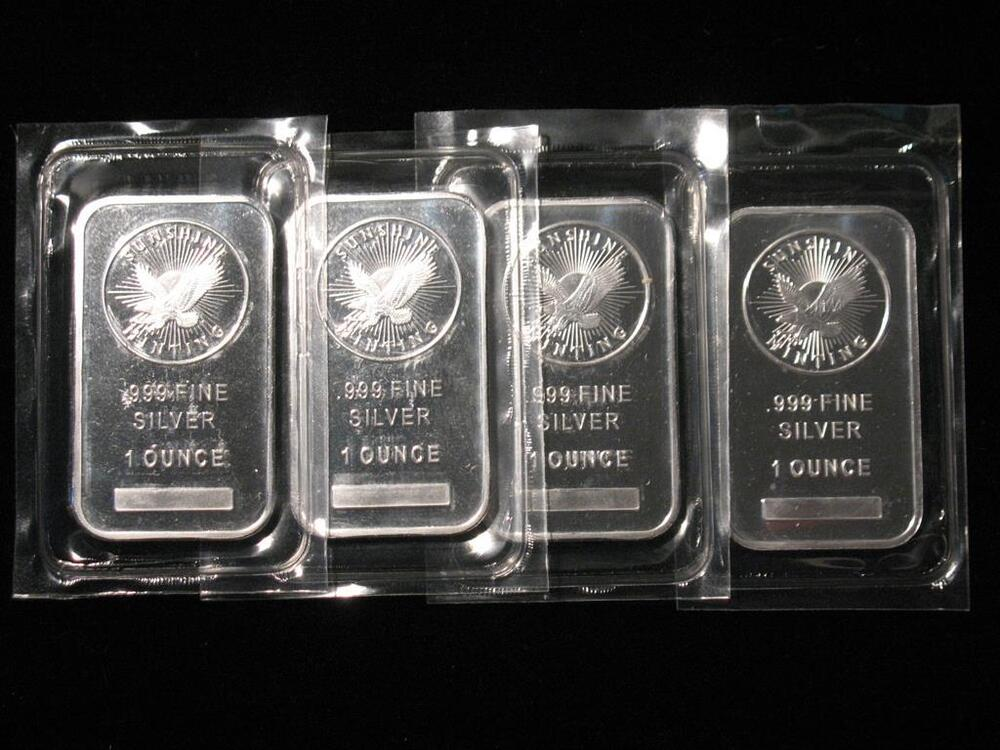 Sunshine Minting One Troy Ounce 999 Silver Bar 1 Oz
