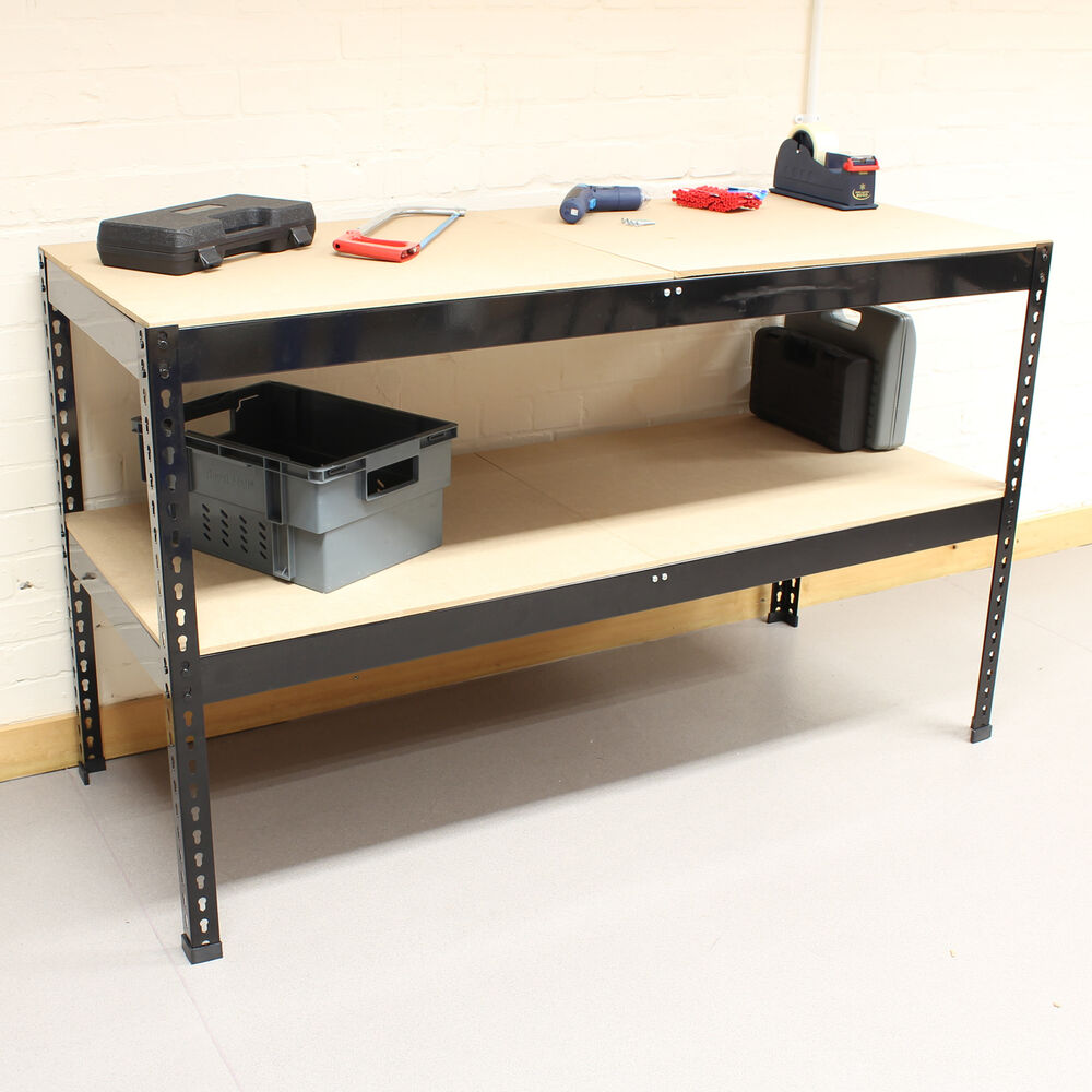 1 5m Black Heavy Duty Steel Work Bench Station Shelves For