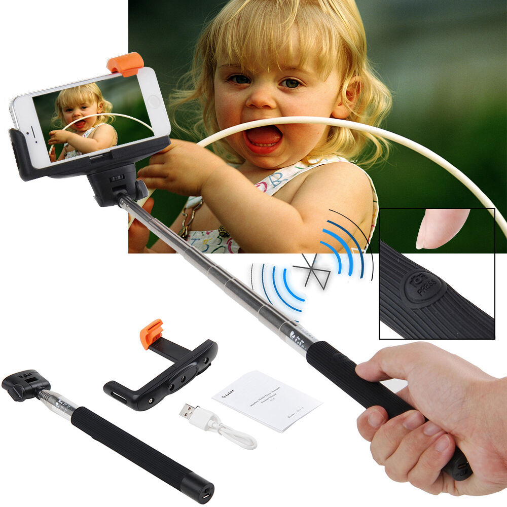 extendable handheld bluetooth selfie stick monopod for iphone samsung htc phone ebay. Black Bedroom Furniture Sets. Home Design Ideas