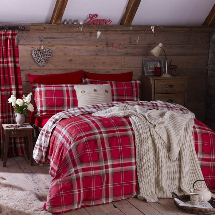 Edinburgh Double Red Tartan Plaid Reversible Cotton Duvet