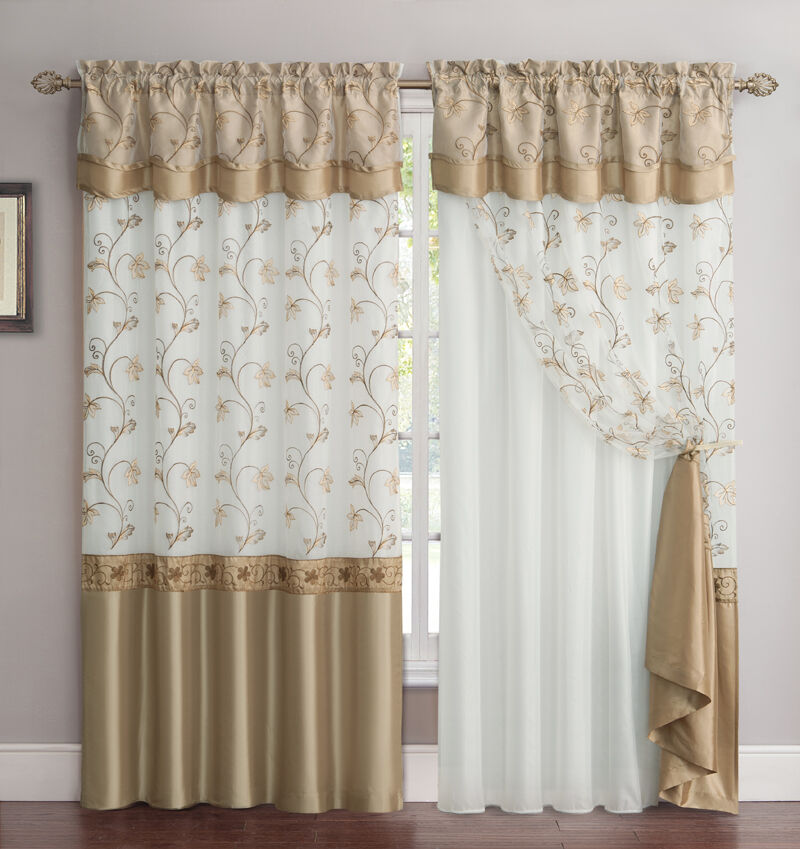 all in one gold and white window curtain drapery panel double layer embroidered ebay. Black Bedroom Furniture Sets. Home Design Ideas