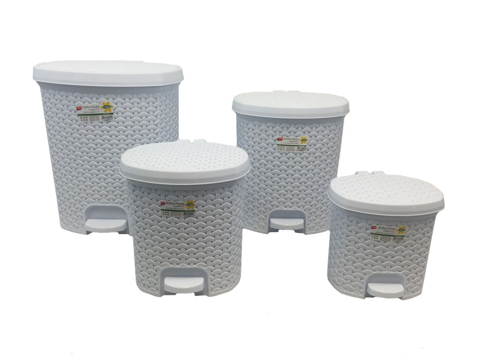 white rattan effect pedal bin available in 4 sizes. Black Bedroom Furniture Sets. Home Design Ideas