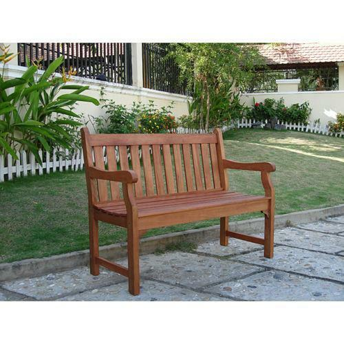 2 seater eucalyptus wood outdoor bench patio furniture for Outdoor furniture 2 seater