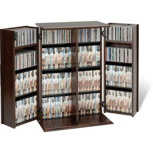 Media Cabinets Furniture: Locking DVD CD Media Storage Cabinet Bookshelf Office