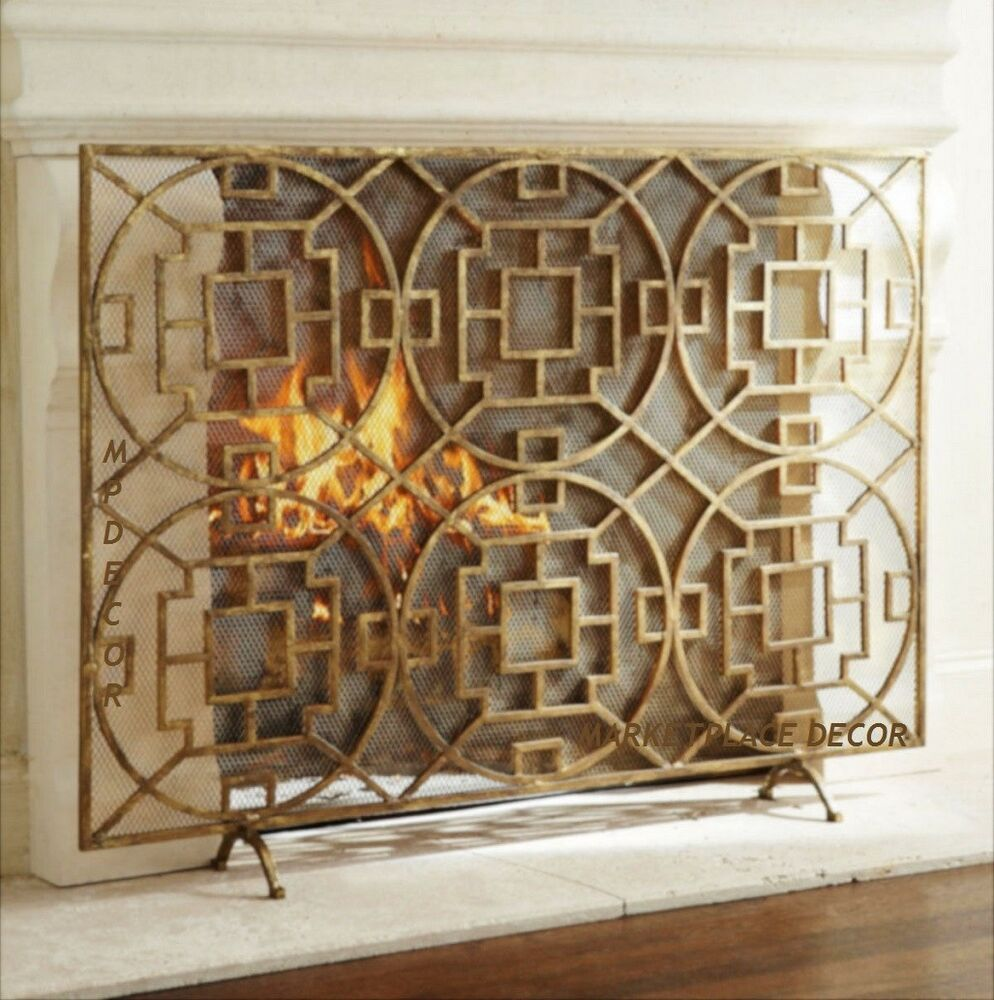 geometric fireplace modern fire screen single panel mesh back 46 w