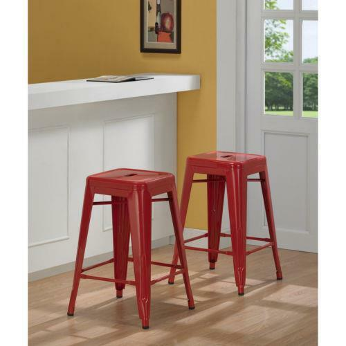 Bar Table With Stools For Kitchen: 24 In Red Metal Counter Stools Set Of 2 Bar Seat Chair