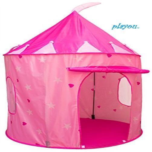kids new girls pink princess castle pop up play tent. Black Bedroom Furniture Sets. Home Design Ideas