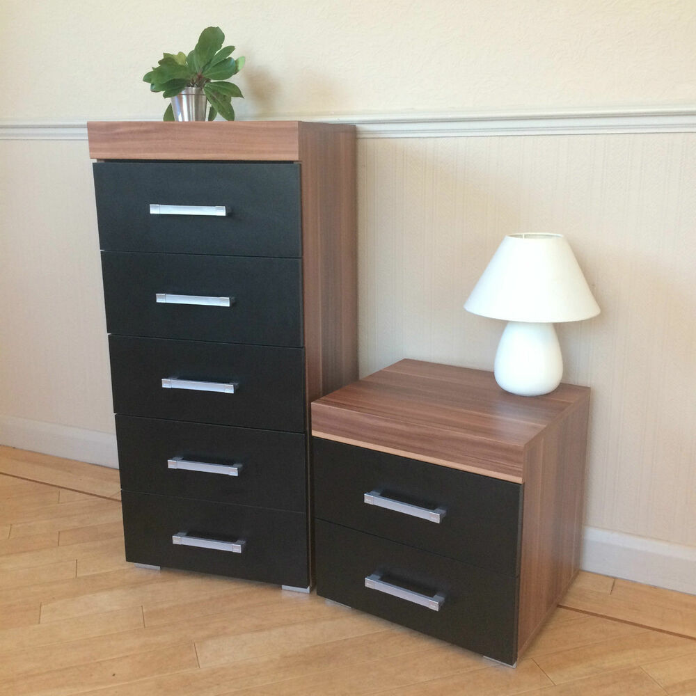 Black walnut 5 drawer tall boy chest 2 drawer bedside - Black chest of drawers for bedroom ...