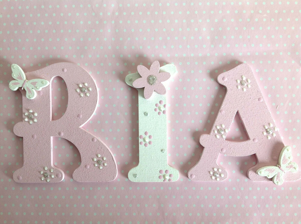 Nursery cot wall door decor wooden letter new baby boy for Decoration 5 letters