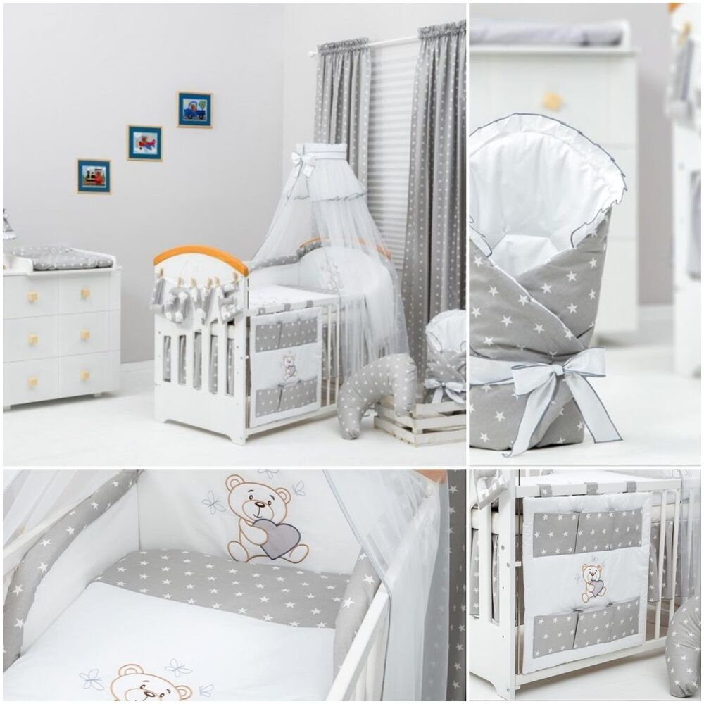 13 Pcs Exclusive Unisex Grey Stars Bedding Set For Cot Bed