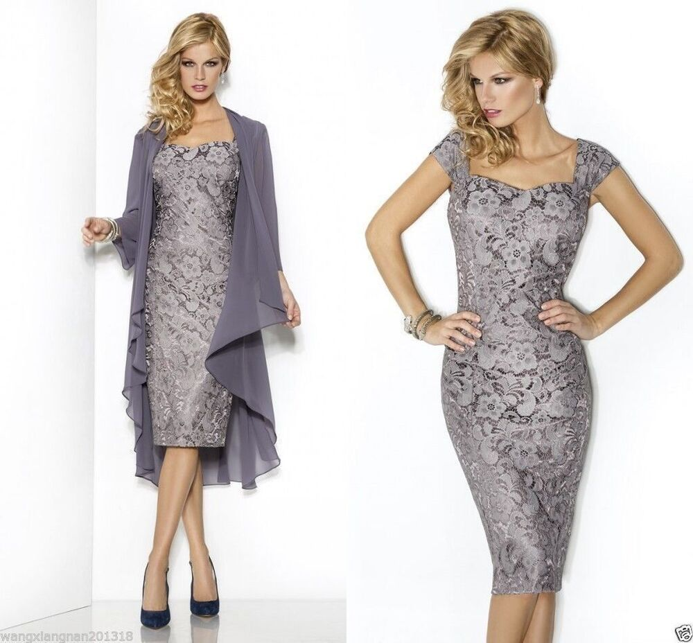 New short lace mother of the bride dress evening prom for Formal short dresses for weddings