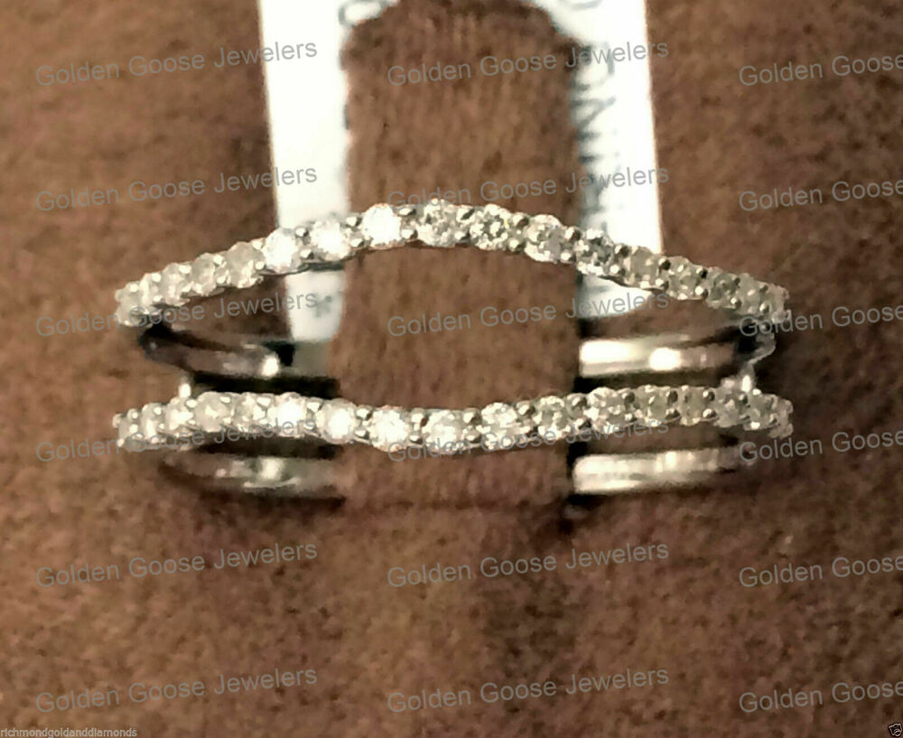 insert diamonds ring guard wrap 14k white gold wedding band ebay