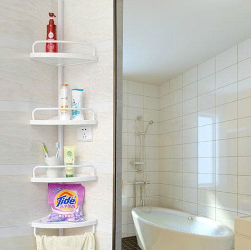Bathroom Shower Corner Shelves: 4 TIER CORNER BATHROOM SHOWER CADDY ORGANISER TIDY RACK
