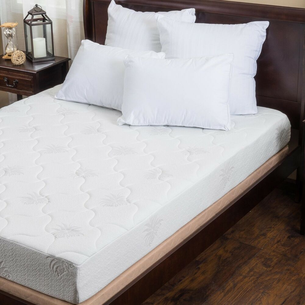 aloe gel memory foam 8 inch full size smooth top mattress ebay. Black Bedroom Furniture Sets. Home Design Ideas